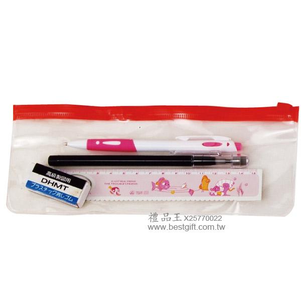 夾鏈袋+2B鉛筆+原子筆+鋁合金尺+橡皮擦