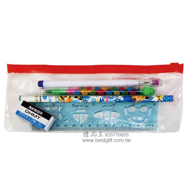 橡皮擦+免削鉛筆+尺+彩虹筆+鉛筆